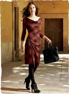 Classic plaid with a twist ~~ a textural French fabric of cotton along with faux wrap skirt secured with a toggle.