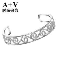 A+V18K白金钻石手镯手链开口复古名贵奢华结婚用专柜正品