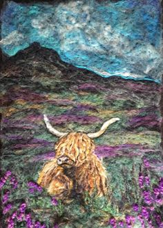 Needle Felt Art - Painting Style Needle Felted Animals, Felt Animals, Wet Felting, Needle Felting, Felt Pictures, Rug Hooking Patterns, Felt Embroidery, Wool Art, Art For Art Sake