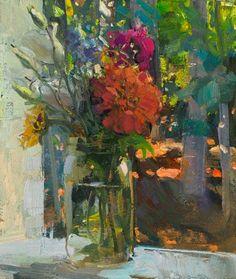 """Duane Keiser, """"Bouquet on a Sill, 7/28/2014"""" o/l, 7""""x6"""""""