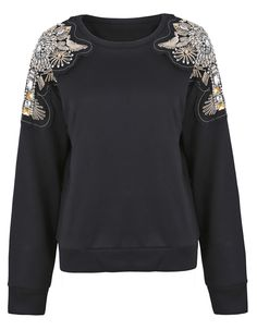 Black Patched Beading Crystal Shouder Sweatshirt
