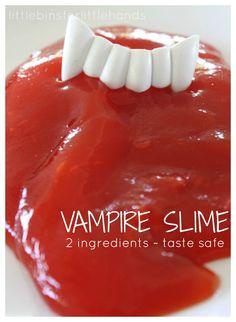 Vampire's Blood Taste Safe Metamucil Slime. Slime made with psyllium husk fiber. Tactile sensory play recipe and mini science experiment. 2 ingredient slime.