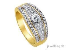 Ein aufwendiger Diamantring mit lupenreinen Diamanten und Gold: der Diamantring ist aus Gelbgold gefertigt und insgesamt mit 55 getönt weißen Diamanten besetzt. Ein wahres Goldstück zu Ostern. Überraschen Sie Ihre Partnerin und verschenken Sie Diamantschmuck als Zeichen der Liebe. Ein ganz besonderes Geschenk zu Ostern. In unserem Online Schmuck Shop www.jewels24.de finden Sie herausragende Geschenkideen zu Ostern. #geschenkidee #ostern #diamantschmuck  #diamantring Bracelet Watch, Watches, Bracelets, Accessories, Fashion, Jewelry Shop, White Diamonds, Princess Cut, Special Gifts