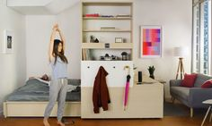 Ori Systems' space-saving modular furniture transforms seamlessly into an office space, living room or bedroom ideal for a modern home. Tiny Apartment Living, Tiny Apartments, Tiny Spaces, Studio Apartments, Small Space Design, Small Space Living, Living Spaces, Tiny Living, Compact Living