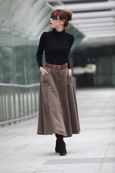 Graceful Camel Wool Big Sweep Long Maxi Skirt. Classy with boots and plain black sweater. Great look.