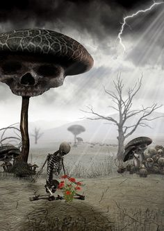 Magic Mushroom Skull by Dan Verkys The Crow, Creepy Art, Weird Art, Dark Gothic, Gothic Art, Dark Fantasy, Fantasy Art, Art Of Dan, Beautiful Dark Art