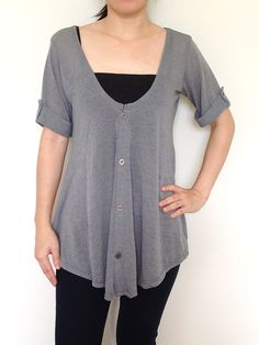 SC002: Gray Women Blouse, Dolman T Shirt, Dolman Sleeve Top, Oversized Top, V Neck Tee, Ladies T shirt, Casual Chic Wide Sleeve Women Top