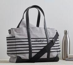 Gray Stripe Classic Diaper Bag | Pottery Barn Kids