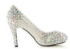 168.30$  Buy here - http://alimqr.shopchina.info/go.php?t=2048137277 - Satin Rhinestone and Crystal Women Platform Bridal Shoes,Evening,Party, Wedding Pumps Shoes Colorful Prom Shoes  #magazineonlinebeautiful