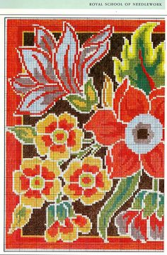 Interesting ideas for decor: Embroidered pillows. Beaded Cross Stitch, Cross Stitch Rose, Cross Stitch Flowers, Cross Stitch Charts, Cross Stitch Designs, Cross Stitch Embroidery, Embroidery Patterns, Cross Stitch Patterns, Broderie Bargello