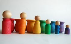 Wooden Toy Set The Original PeekaBoo  RAINBOW FAMILY by applenamos, $25.00 #waldorftoys #montessoritoys #homeschooling