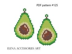 Avocado earrings brick stitch PDF patterns for miyuki delika Peyote Patterns, Pdf Patterns, Beading Patterns, Stitch Patterns, Bracelet Patterns, Brick Stitch Earrings, Seed Bead Earrings, Beaded Earrings, Seed Beads