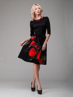 Платье черное с цветочным принтом - AERIN - 2010619