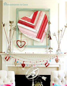 15 Charming Valentine's Day Mantel Decor Ideas To Fall In Love With Diy Mod Podge, Heart Decorations, Valentines Day Decorations, Valentines Day Decor Rustic, Vintage Valentines, Christmas Decorations, Valentine Day Love, Valentine Day Crafts, Valentine Ideas