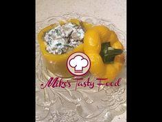 PEPPER RECIPES - MEAT STUFFED PEPPERS  Pepper 4  Meat   400 gr. Champignon Mushrooms 200 gr. Yogurt   75 gr. Salt, Black Pepper   to taste Olive Oil