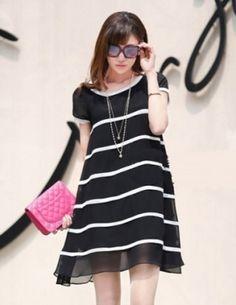 Đầm suông chiffon màu đen sọc ngang - A8989
