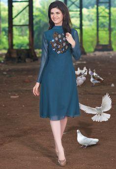 Navi Blue Rich Designer Readymade Georgette Kurti