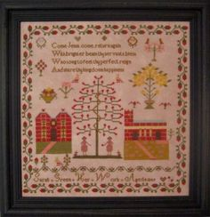 Sarah Green 1849 is the title of this cross stitch pattern from Samplers Revisited that is an English reproduction sampler. Sarah Green was just eight years old when she stitched this design. There is a house, church (complete with graveyard) and Adam and Eve. The colors are beautiful in this cross stitch pattern.