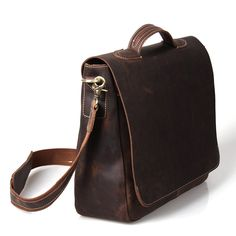 "Vintage Handmade Crazy Horse Leather Briefcase / Messenger / 13"" 14"" 15"" Laptop 13"" 15"" MacBook Bag    British Indie Clothing - AcquireGarms.com"