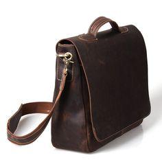 "Vintage Handmade Crazy Horse Leather Briefcase / Messenger / 13"" 14"" 15"" Laptop 13"" 15"" MacBook Bag || British Indie Clothing - AcquireGarms.com"