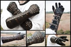 Dark Brown Rawhide Gauntlets. I would imagine it would be hard to move your wrist though.