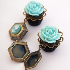 Baby Blue Locket Dangle Girly Plugs