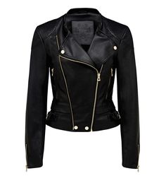 Suzie cropped Pu biker jacket Black - Womens Fashion | Forever New
