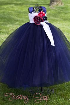 Navy and Coral Tutu Dress FLower girl by FrostingShop on Etsy, $105.00