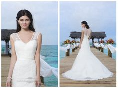Lace Appliques And Satin Trim On Sheer V-Tank Asymmetrically Draped Tulle Wedding Gown