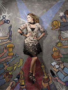 Models Pose On Top Of Creative Sidewalk Illustrations