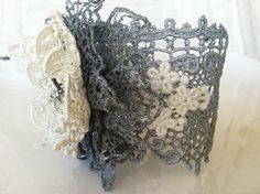 Silver Vintage Lace Cuff by StunningByDesign on Etsy,