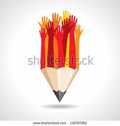 happy hands with pencil vector - stock vector
