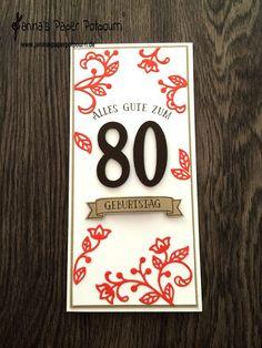 jpp - Karte zum 80. Geburtstag / Birthday Card /   Zahlen / Stampin' Up Berlin / Blühende Worte / So viele Jahre / Thinlits Blütenpoesie / Framelits Große Zahlen  www.janinaspaperpotpourri.de