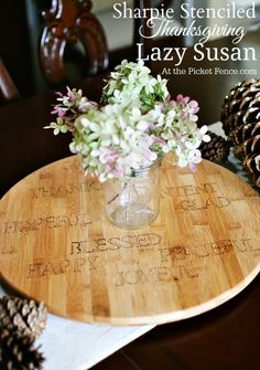 At The Picket Fence blog post Sharpie Stenciled Thanksgiving Lazy Susan http://shrx.us/QeZVK3Qe via bHome https://bhome.us