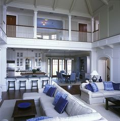 From contemporary and modern to traditional and rustic, discover the top 70 best great room ideas. Explore cool living space interior designs for your home. Coastal Living Rooms, Spacious Living Room, Living Spaces, Stairs Architecture, Style Deco, Space Interiors, Design Case, Home Interior Design, Coastal Interior