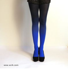 """Ombre Tights.  Blue/black - as seen on """"Today Show"""" on Etsy, $40.00"""