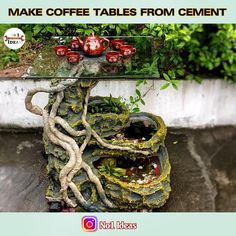 Diy Water Fountain, Diy Garden Fountains, Concrete Crafts, Concrete Projects, Diy Crafts Hacks, Diy Crafts For Gifts, Art Drawings For Kids, Fish Tank, Garden Art