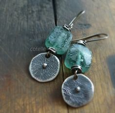 Green Ancient Glass and Raw Sterling Silver - Artisan Jewelry - Green Earrings