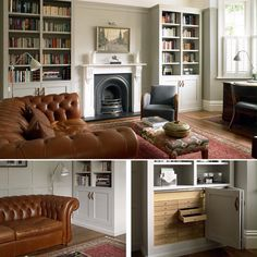 We designed and built bespoke bookcases and wall panelling for this gorgeous Edwardian living area/study space packed with period features including an open fire, bay window and decorative cornicing. #periodhomes #edwardianhouse #traditionaldecor