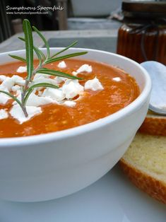 Roasted Eggplant & Tomato Soup with Fresh Herbs & Goat Cheese ~ Sumptuous Spoonfuls #tomato #soup #recipe