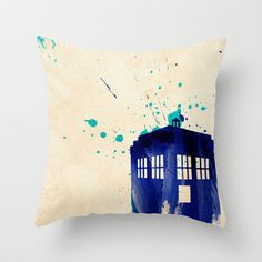Doctor Who TARDIS Rustic Throw Pillow by Colin Capurso - $20.00