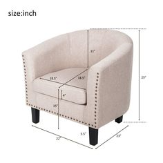 HarperandBright Stylish Upholstered Fabric Leisure Accent Chair with Armrest and Bonus Soft Seat Cushion and Nailhead Detail Beige >>> You can find more details by visiting the image link. (This is an affiliate link and I receive a commission for the sales) #livingroomfurniture