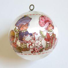 Strawberry Shortcake Happy Holidays Silk Ball Ornament from Christmas 1982 by BrownEyedRose