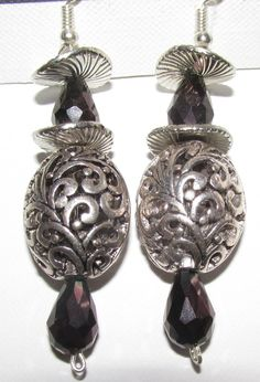 Silver swirls with Black crystals with silver locket style earrings Silver Lockets, Black Crystals, Swirls, Drop Earrings, Stuff To Buy, Jewelry, Design, Style, Jewellery Making