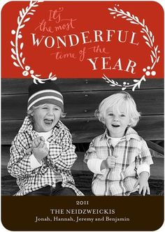 Most Wonderful Time - Flat Holiday Photo Cards in Firecracker or Emerald…