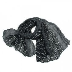 http://www.artfire.com/ext/shop/studio/bohemiantouch/1/1/10311//  Black and White Polka Dot Print Soft Touch Women Shawl Scarf, scarf is a great addition to your collection of fashion accessories. Perfect for all year round.