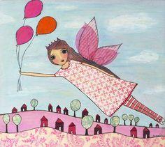 Fairytale Painting Pink Fairy Art Print for Nursery by Sascalia, $35.00