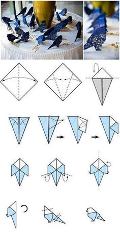 how to fold an origami bird. Edit: did this but unfortunately it doesn't look as cute as imagined :(