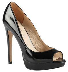 "ALDO ""Malana"" Platform Peep-toe Pumps in black patent (Prada look-a-likes)"