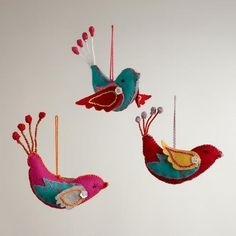 One of my favorite discoveries at WorldMarket.com: Felt Stitched Bird Ornaments,  Set of 3